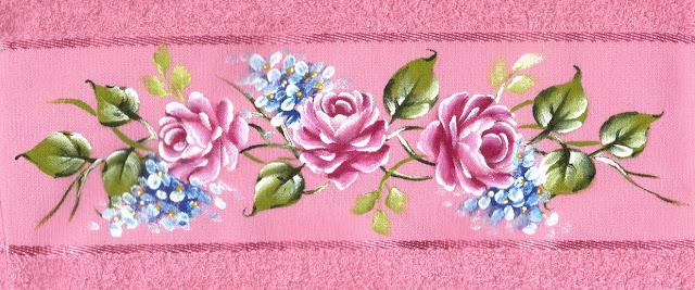pintura em tecido toalha de banho flores rosas
