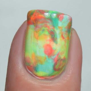 neon rainbow smoosh nail art