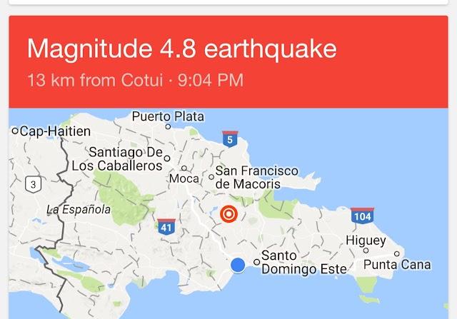 La noche domingo temblor 4.8 se siente RD