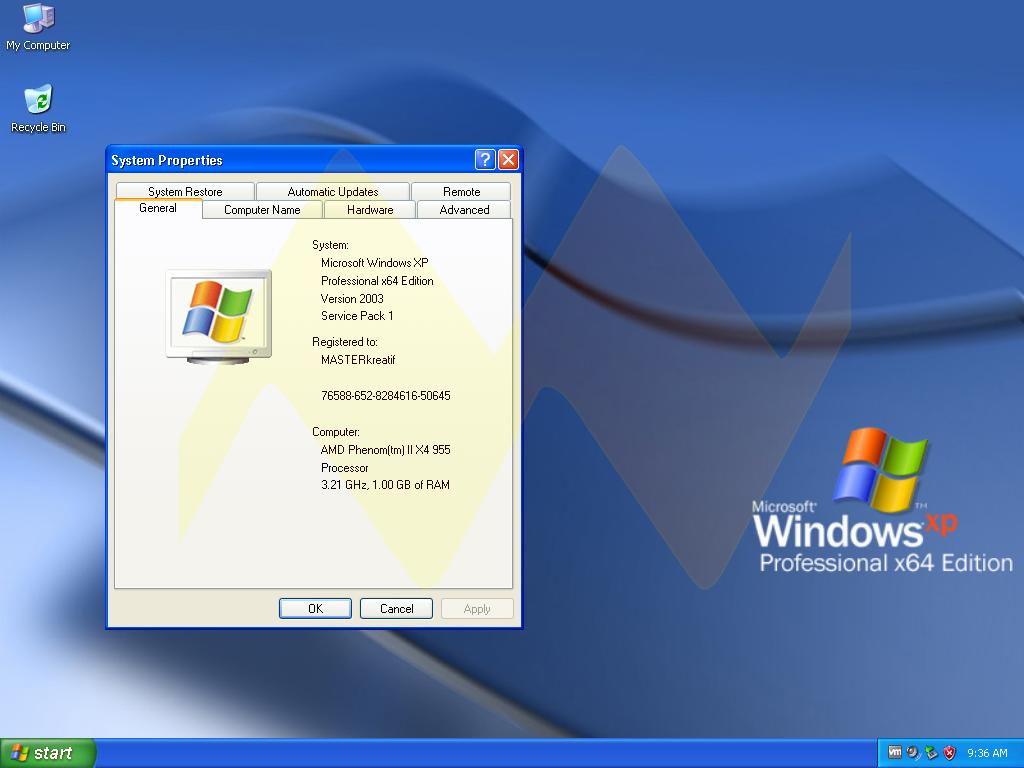 Windows XP Professional 64bit Full Key  MASTERkreatif