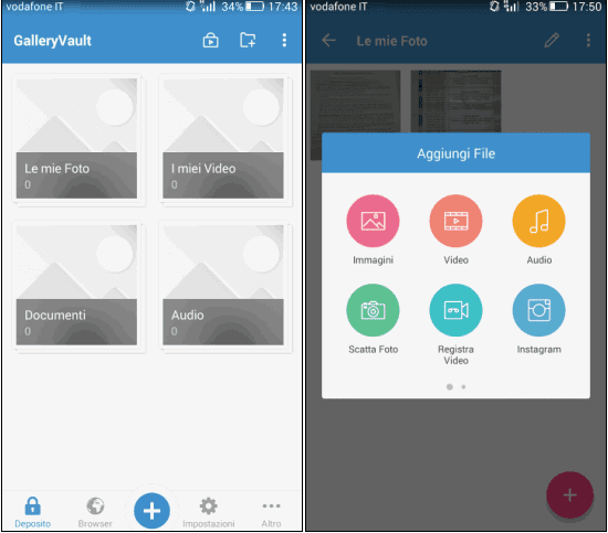 GalleryVault app Android gestire i file