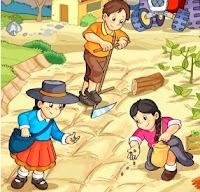 Imagen de campesinos trabajando en la tierra a colores