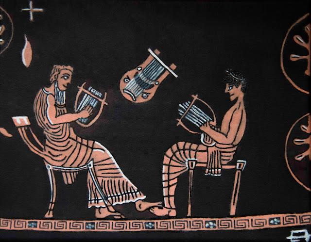 Eduardo Ávila: El anciano Linos imparte una lección de música al adolescente Ificles. Óleo y rotulador sobre lienzo