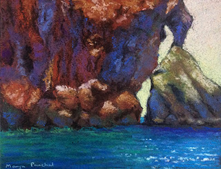 soft pastel painting of Phi Phi Leh by Manju Panchal