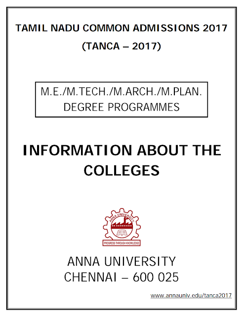 TANCA - 2017 Booklet (ME/MTech/MArch/MPlan College Details)