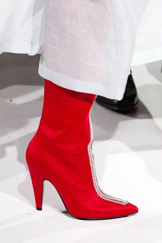 Calvin Klein with Red Color Under The Knee Boots