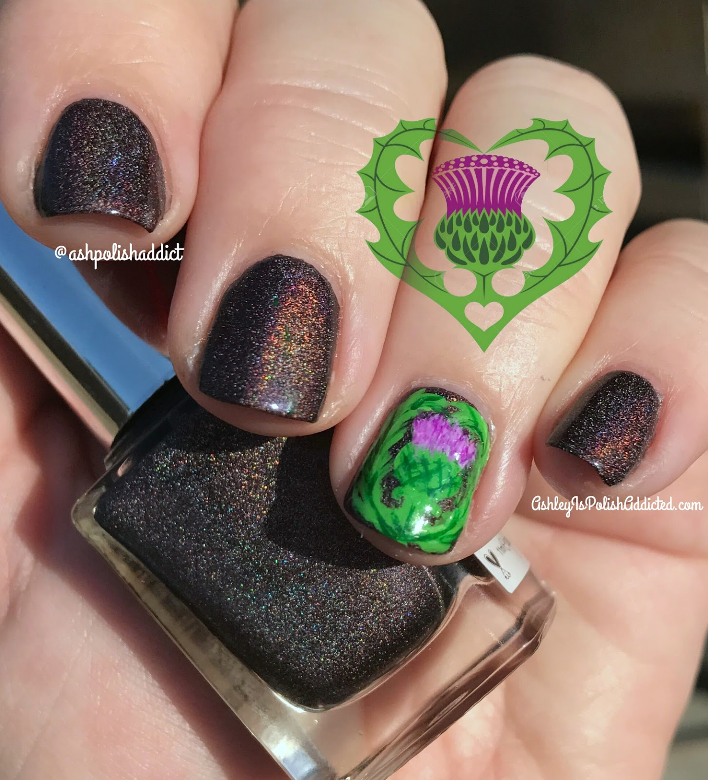 Ashley is PolishAddicted: Scottish Thistle Nail Art