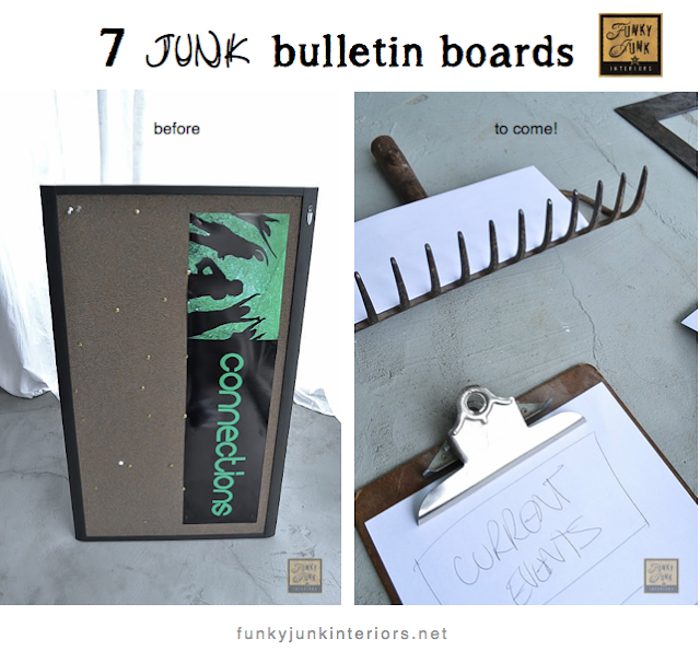 salvaged junk styled bulletin boards via Funky Junk Interiors