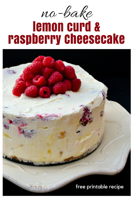 A luxurious deep no-bake lemon cheesecake studded with fresh raspberries that's super easy to make and a real delight to make. It's a fabulous Easter bake (no-bake).