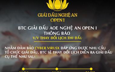 [AoE] AoE Nghệ An Open I chính thức lùi lịch thi đấu