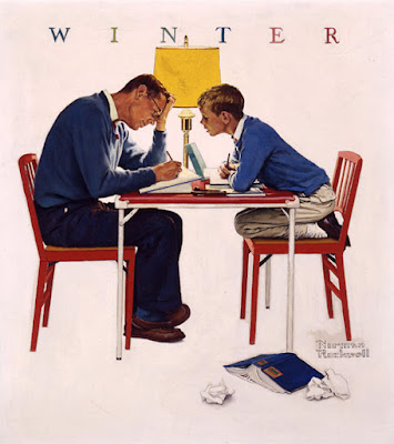 Norman Rockwell, Boy and Father: Homework (Winter) (ca. 1960)