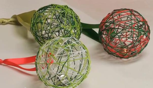 Bolas Navidad Con Lanas Y Casacabel - Como-hacer-bolas-de-navidad