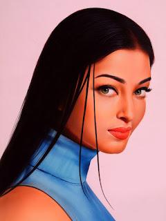 Indian Actress Aishwarya Rai Watercolor Painting Poster