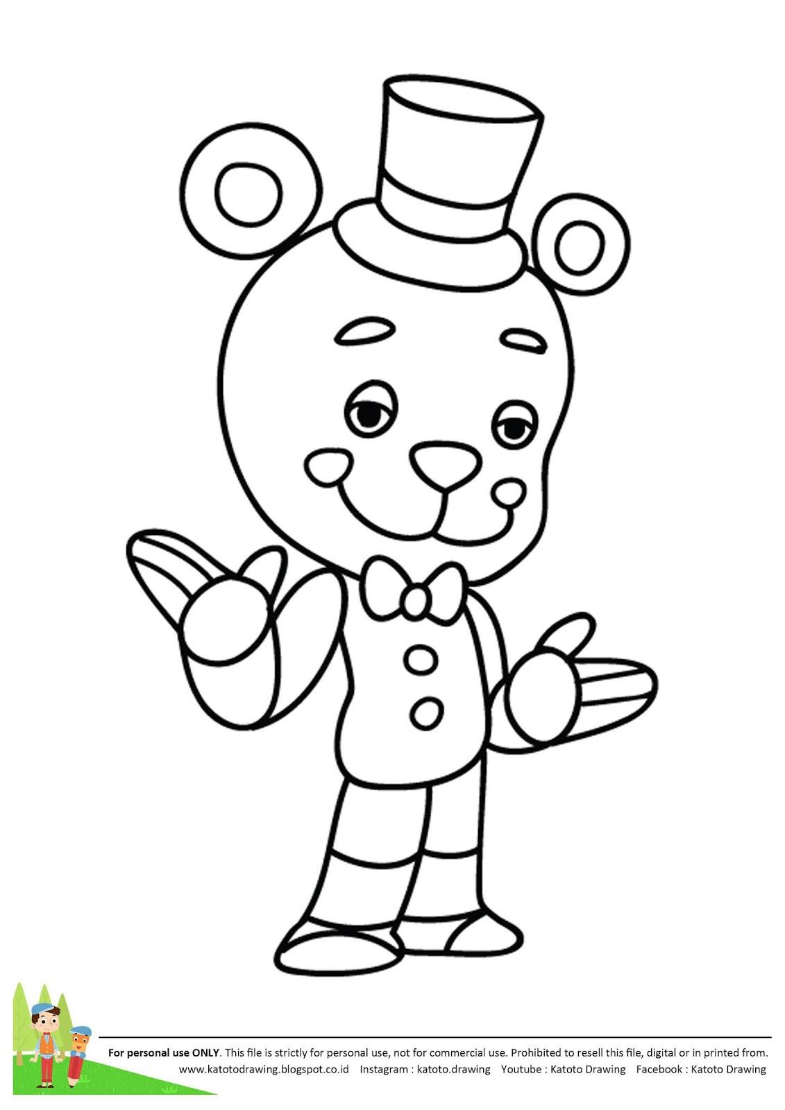 image relating to Free Printable Five Nights at Freddy's Coloring Pages called Katoto Drawing Guideline: Langkah menggambar dan mewarnai