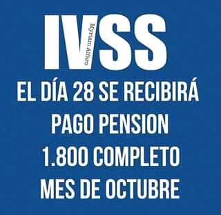 Fecha oficial pago pensión IVSS mes de Octubre 2.018