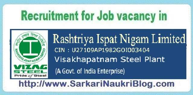Naukri Vacancy Recruitment Vizag Steel Visakhapatnam