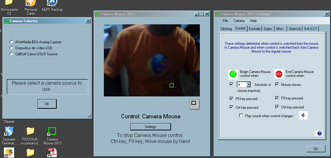 Use a sua câmera como mouse