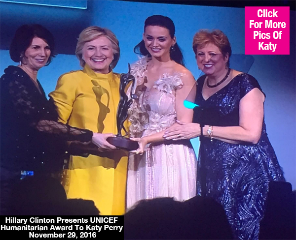Hillary Clinton Surprises Katy Perry & Moves Her To Tears At UNICEF Snowflake Ball