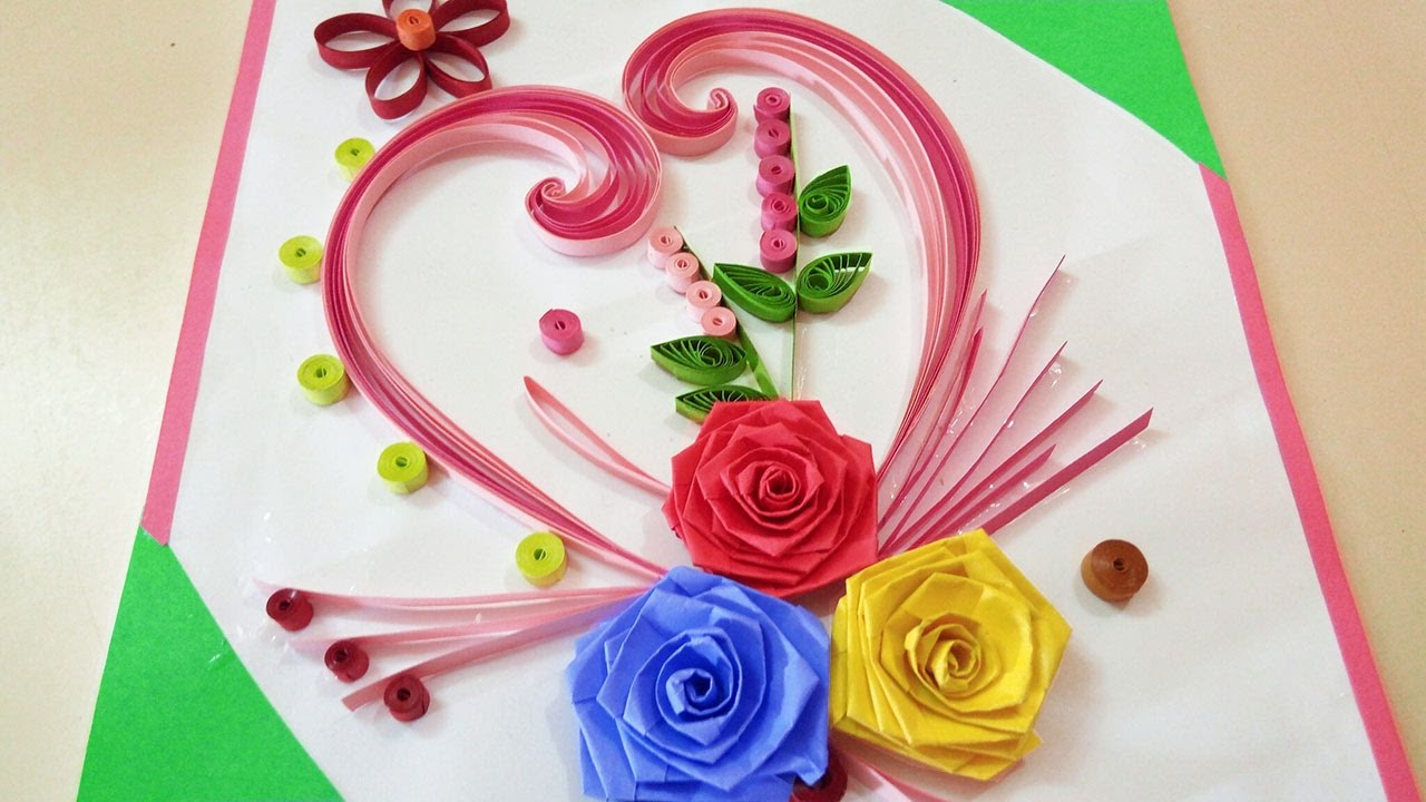 Quilling greeting card made up with curved shaped strips and paper quilling greeting card made up with curved shaped strips and paper rose flowers kristyandbryce Choice Image
