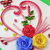 Quilling greeting card made up with curved shaped strips and paper rose flowers
