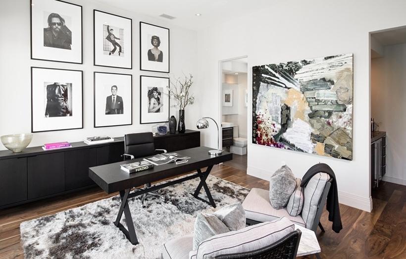 Elegant black and white home office