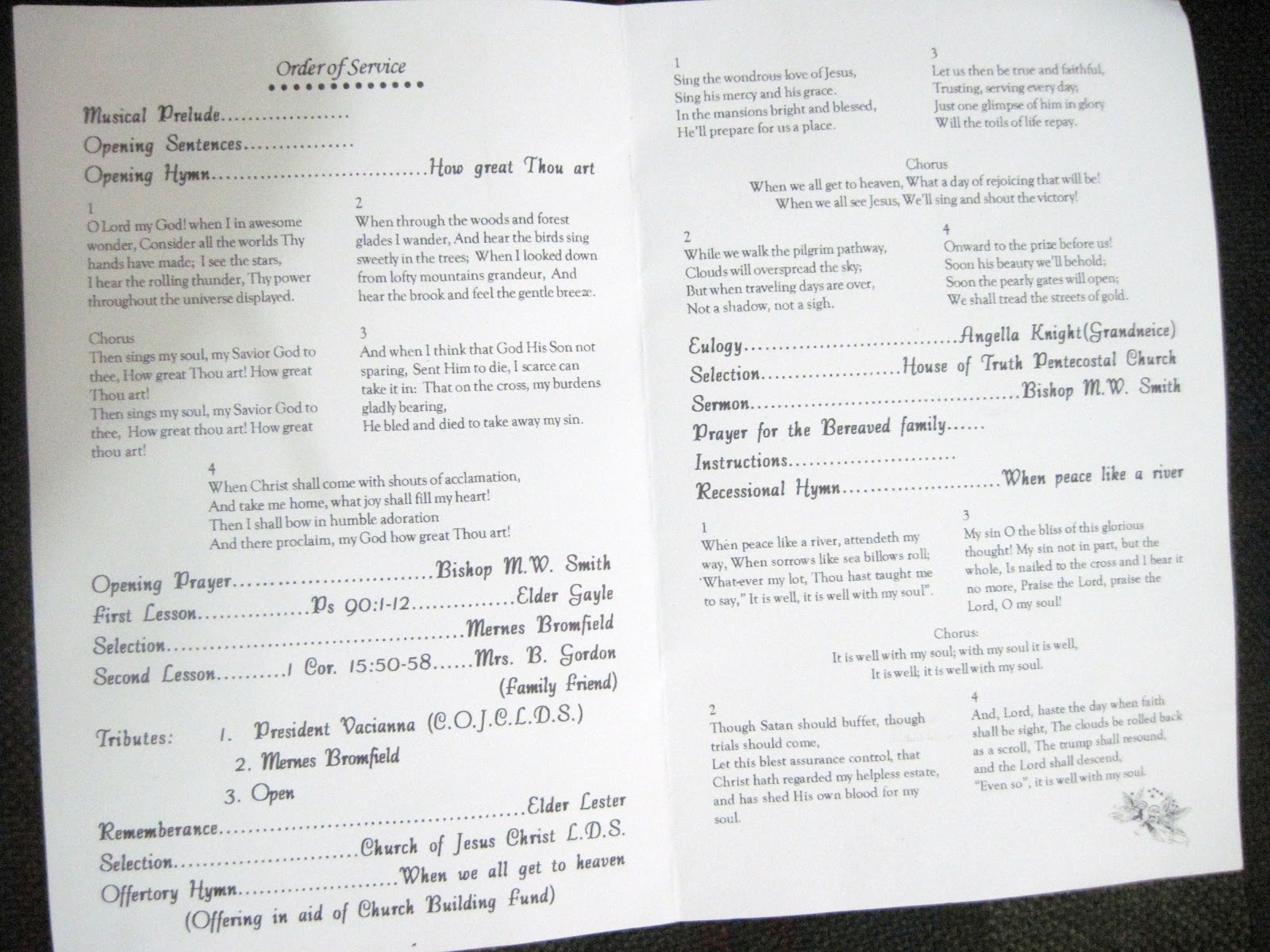 Smiths Jamaican Mission Funeral Program