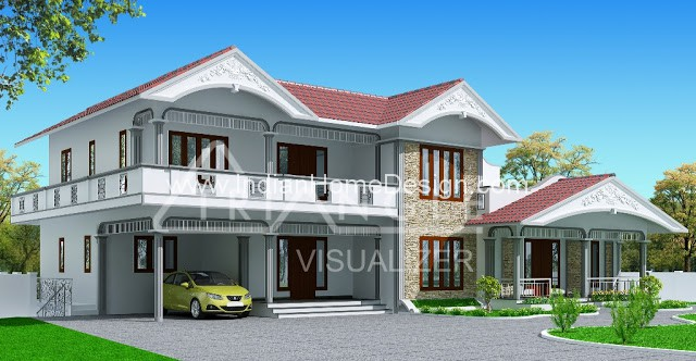 1900 sqft kerala style house exterior design gallery from for Home design visualizer