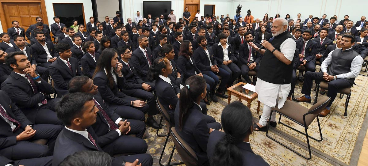 The Prime Minister, Narendra Modi interacting with the Medal Winners of the Asian Games-2018