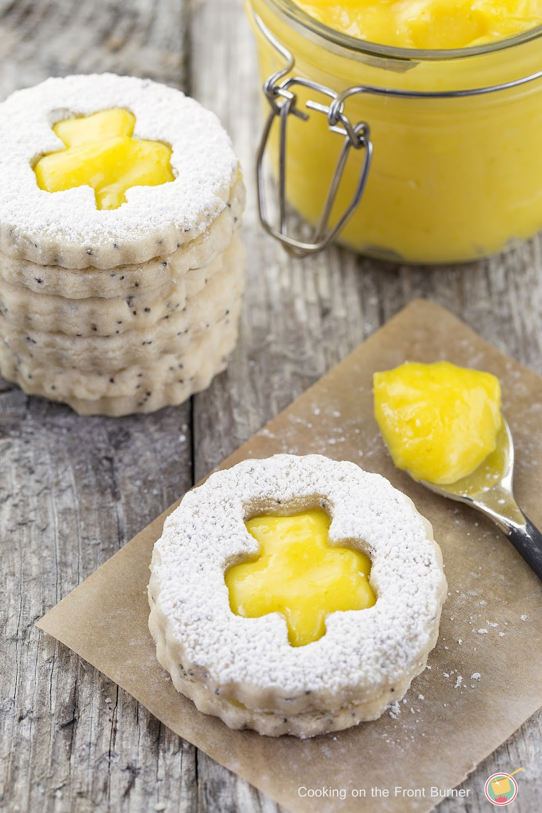 Shamrock Linzer Tarts with Lime Curd