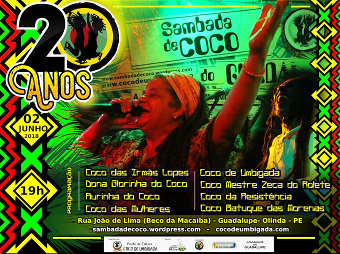 Olinda sedia evento cultural para marcar 20 anos da Sambada do Coco de Umbigada