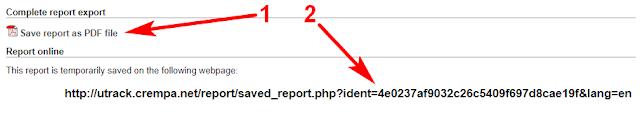 Раздел «Complete report export»: 1 - сохранение отчёта в формате PDF, 2 - временная ссылка на отчёт.