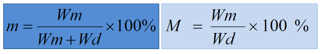 Persamaan, Kadar Air, BK, BB