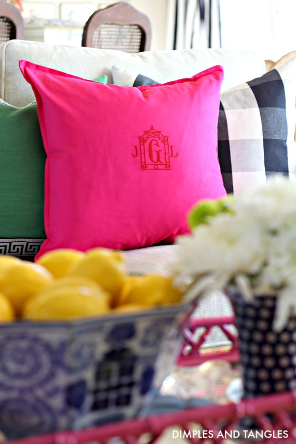 monogram, pagoda, hot pink pillow