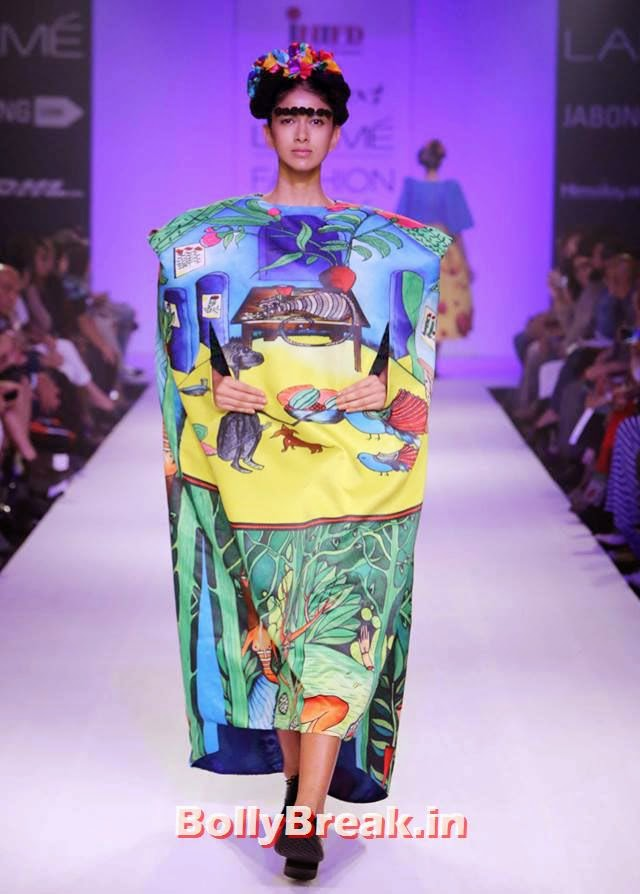 A model in a Kristy De Cunha creation, Bizarre Dresses from Fashion Show - LFW