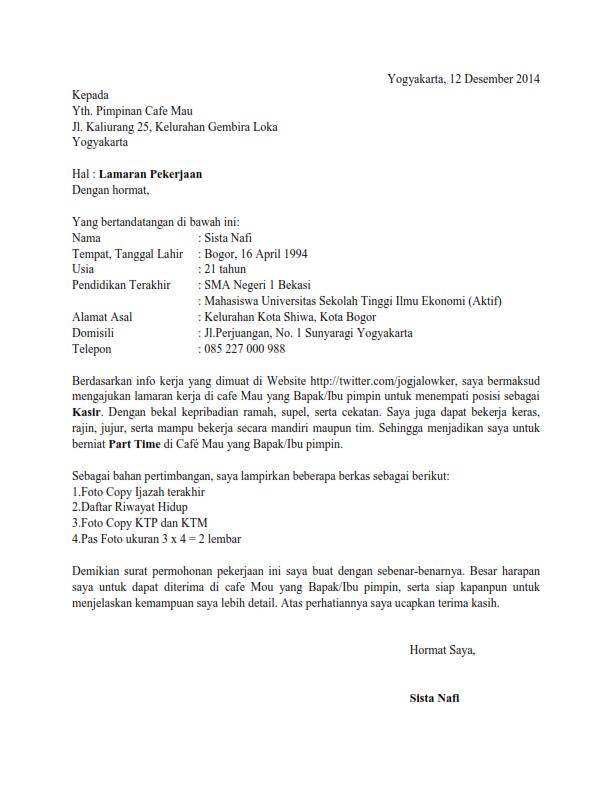 Contoh Surat Lamaran Kerja Bahasa Inggris Beserta Arti