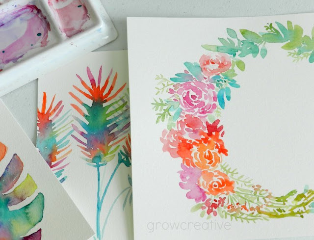 Original Watercolor Floral Wreath and Tropical Palm Fronds by Elise Engh: growcreative