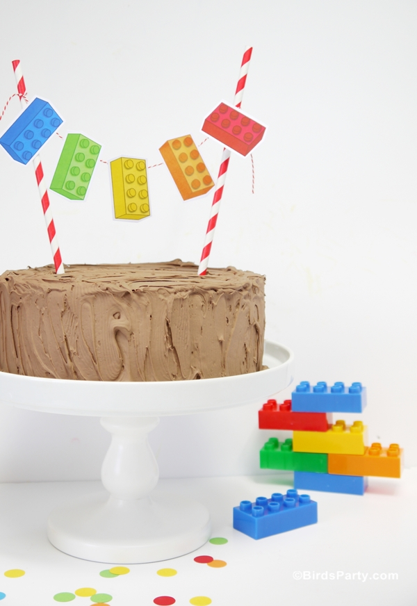 Easy DIY Lego Inspired Birthday Cake Bunting - BirdsParty.com