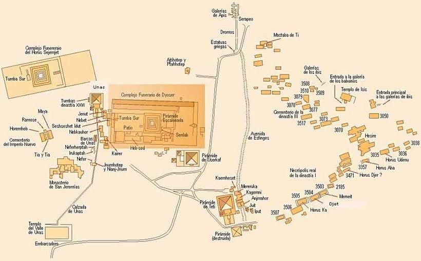 Mapa do Complexo de Saqqara - foto do site Reydekish