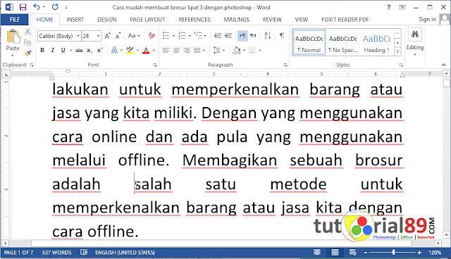 Cara memperbaiki space terlalu lebar di Microsoft word