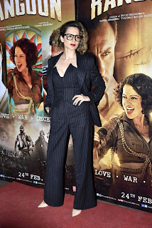 Kangana Ranaut in Special Black Jumpsuit Trousers and Blazer at Rangoon Movie Special Screening