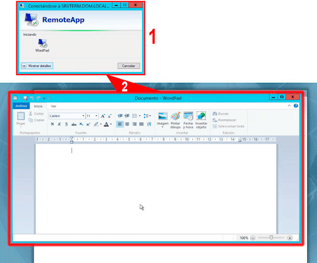 Remote Desktop Web Access - WordPad.