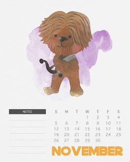 Calendario 2017 de Star Wars para Imprimir Gratis Noviembre.