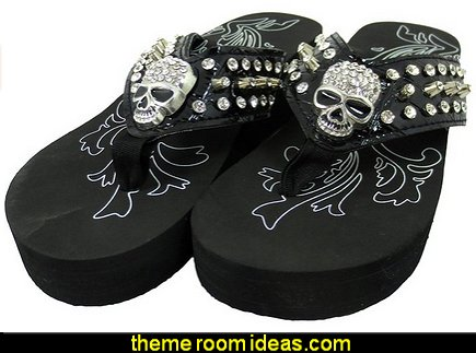 Gothic Punk Rock Skull and Metal Bling Studs Black Flip Flops