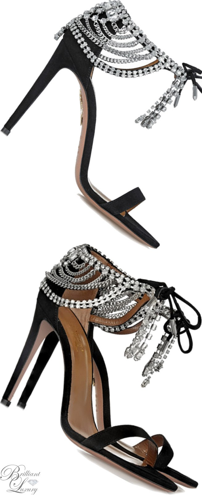 Brilliant Luxury ♦ Aquazzura Embellished Suede Sandals