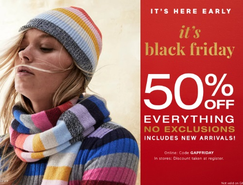 Gap Black Friday Early Access 50% Off Promo Code
