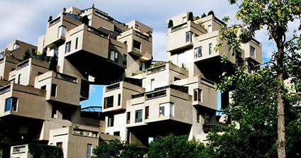 Habitat 67 cube housing in montreal for Cube miroir habitat