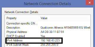 ip address pada network connection
