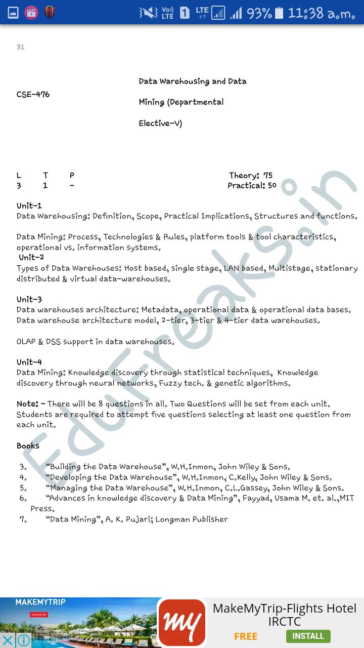 Prasheel Chopra: B Tech  cse 8th sem syllabus