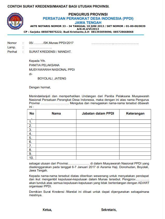 Berbagai Contoh Surat Mandat
