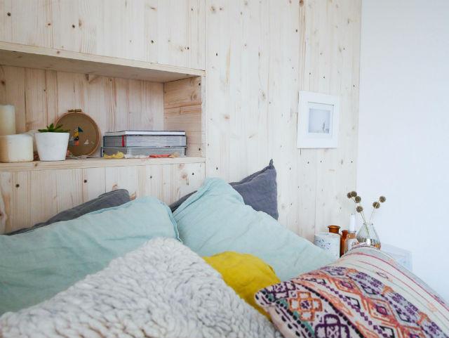 diy como hacer una pared de madera como cabecero de cama - Como Hacer Un Cabecero De Madera